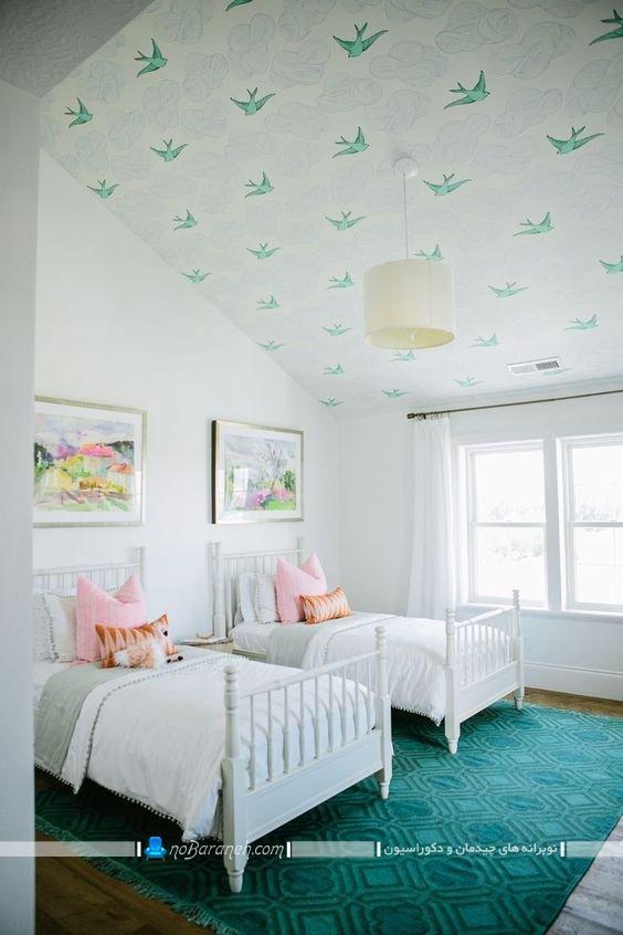 کاغذ سقفی فانتزی برای اتاق نوجوانان. تزیین اتاق خواب نوجوان دو قلو با کاغذ سقفی شیک مدرن فانتزی