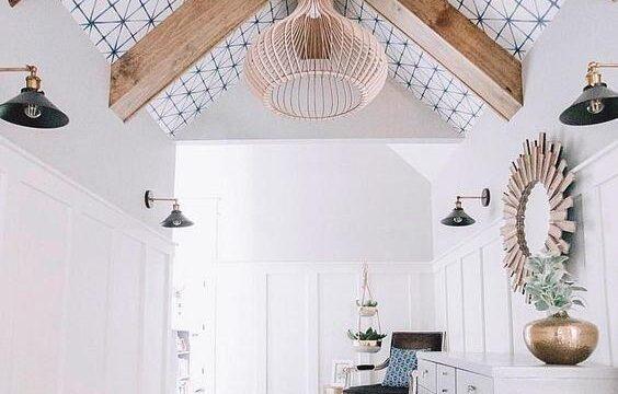 تزیین-سقف-خانه-با-کاغذ-دیواری-یا-کاغذ-سقفی