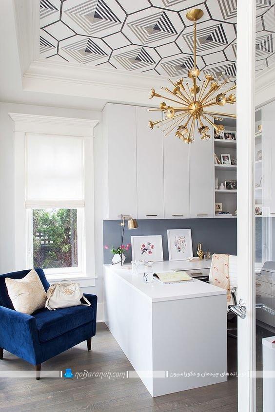 تزیین سقف اتاق کار با کاغذ سقفی مدرن و شیک. مدل های جدید کاغذ سقفی برای دیزاین خانه و منزل و محل کار