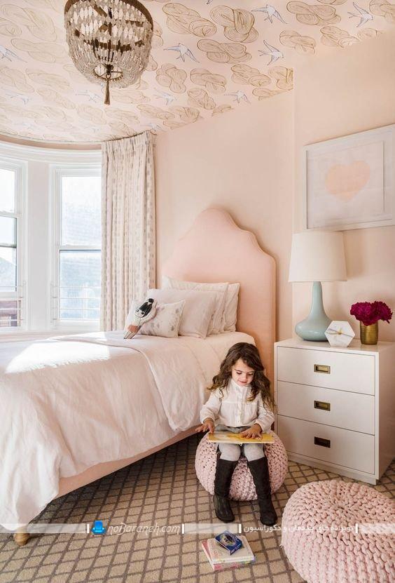 تزیینات ارزان قیمت برای اتاق دختر بچه ها. تزیین سقف اتاق بچه با کاغذ دیواری ارزان قیمت