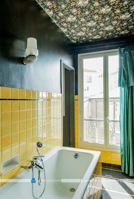 دیزاین سقف سرویس بهداشتی با کاغذ دیواری یا سقفی