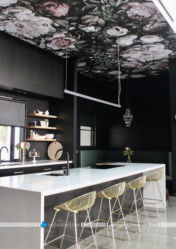 تزیین سقف آشپزخانه با کاغذ سقفی. مدل های تزیین سقف آشپزخانه اپن با هزینه کم و ارزان