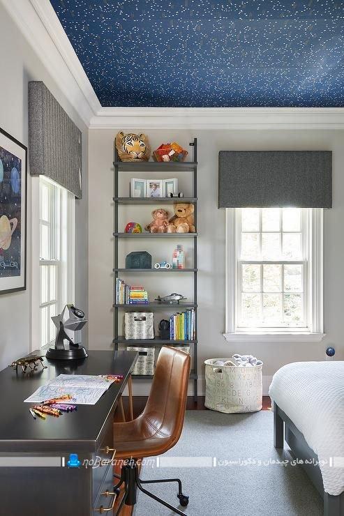 دیزاین سقف اتاق خواب با کاغذ دیواری. مدل های ارزان قیمت و شیک تزیین سقف اتاق خواب