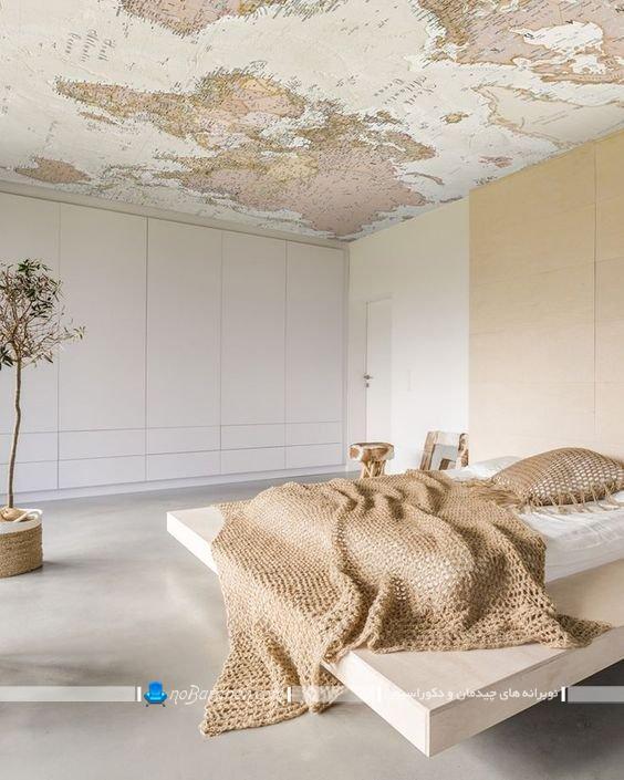 دیزاین سقف اتاق خواب با کاغذ تزیینی. مدل های دکوراسیون سقف اتاق خواب با کاغذ تزیینی