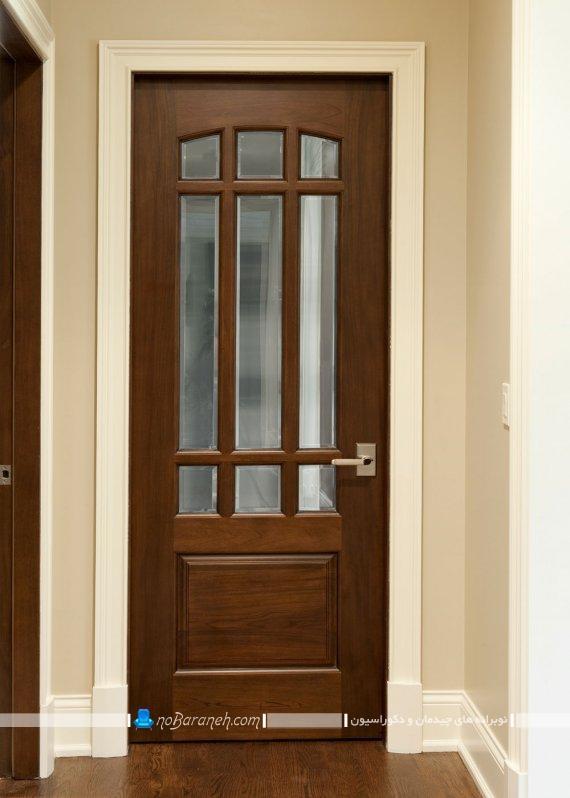درهای چوبی و شیشه ای مدرن و کلاسیک با رنگ قهوه ای برای تزیین منزل.
