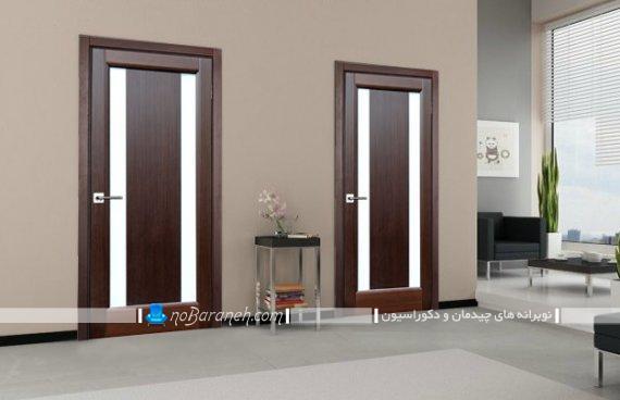 درب چوبی اتاق پذیرایی و اتاق خواب با جنس شیشه ای. مدل های جدید در چوبی برای تزیین منزل.