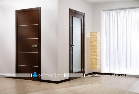 مدل های جدید درب داخلی منزل با متریال چوب و شیشه. طرح مدرن درهای داخلی منزل با جنس چوبی