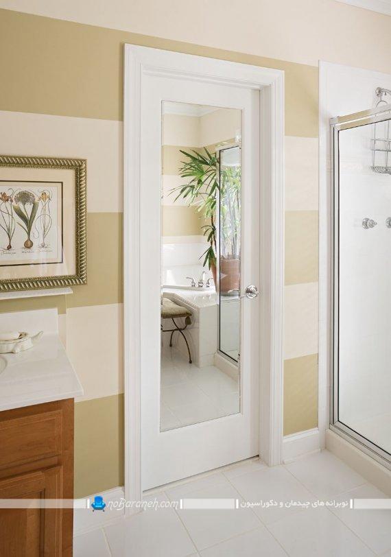درب چوبی و شیشه ای داخلی شیک مدرن منزل. درب چوب و شیشه اتاق خواب اتاق پذیرایی آشپزخانه.