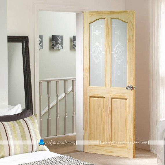 درب چوبی با شیشه دکوراتیو شیک و مدرن. درب داخلی شیک و دکوراتیو تزیینی
