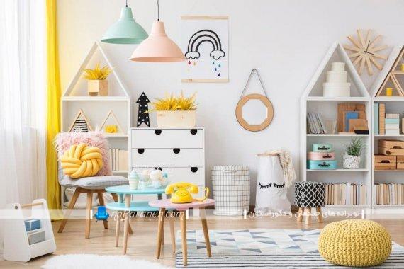 چیدمان اتاق بازی بچه ها در خانه. شبیه سازی اتاق بچه ها به شکل مهد کودک