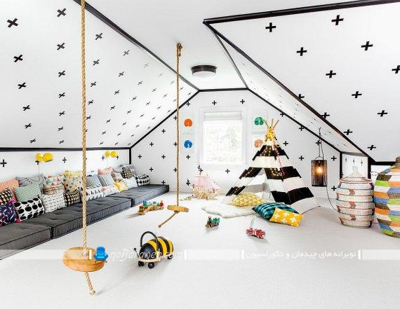 تزیین شیک و فانتزی اتاق بازی کودک. دیزاین شیک و فانتزی اتاق خواب کودک. مدل چادر بازی سرخ پوستی