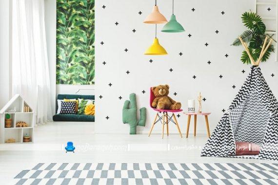 دیزاین شیک اتاق بازی کودکان خردسال. مدل تزیینات زیبا و ارزان قیمت برای اتاق کودک