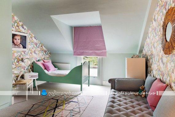 اتاق خواب دخترانه به سبک فانتزی و شیک. طراحی دکوراسیون چیدمان دیزاین شیک فانتزی اتاق خانم دختر نوجوان. کاغذ دیواری فانتزی و شیک دخترانه.