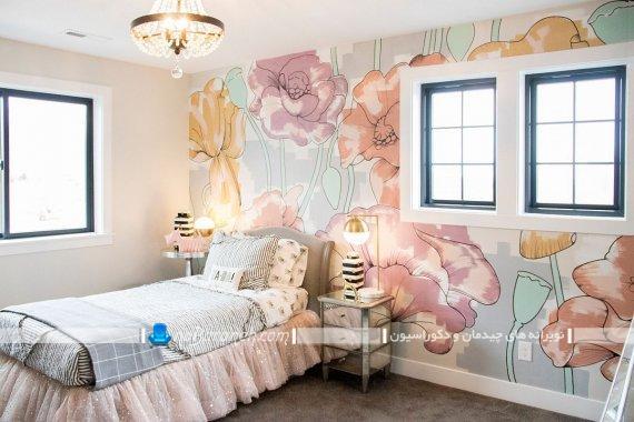 کاغذ دیواری اتاق خواب نوجوان با طرح فانتزی و شیک مدرن. چیدمان و دیزاین زیبا و جذاب در اتاق نوجوانان و جوانان.