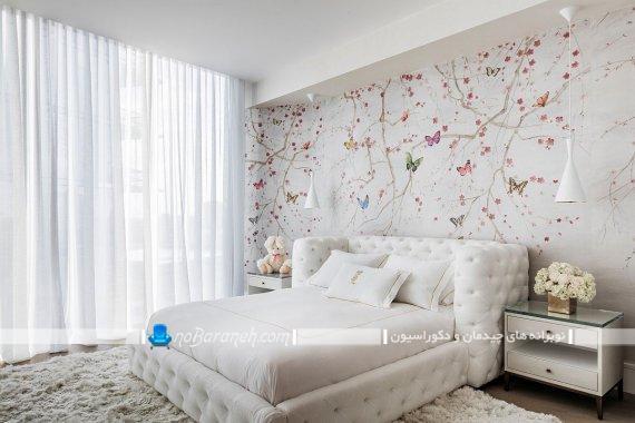 دکوراسیون شیک و فانتزی دخترانه اتاق خواب نوجوان. مدل های جدید دیزاین و تزیینات شیک برای اتاق خواب نوجوان دختر. دیزاین دخترانه با رنگ سفید. کاغذ دیواری دخترانه فانتزی.