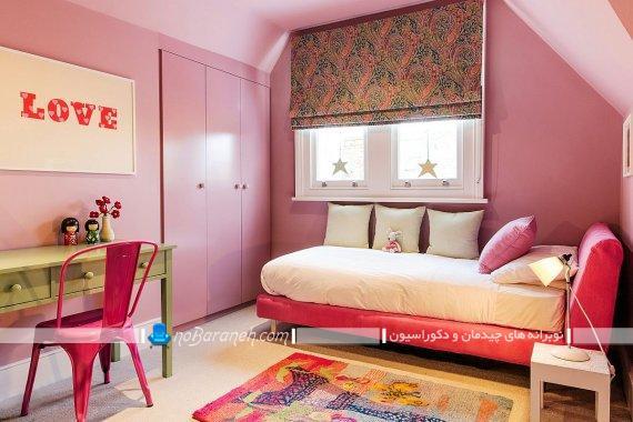 دکوراسیون شیک اتاق نوجوان با صورتی. مدل های دیزاین شیک مدرن کلاسیک فانتزی اتاق خواب دخترانه.