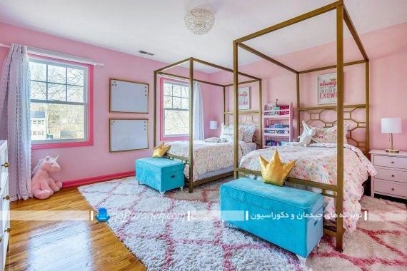 دکوراسیون اتاق نوجوانان به سبک سطنتی و کلاسیک شیک. مدل های فانتزی تخت خواب و سرویس خواب دخترانه حجله دار.