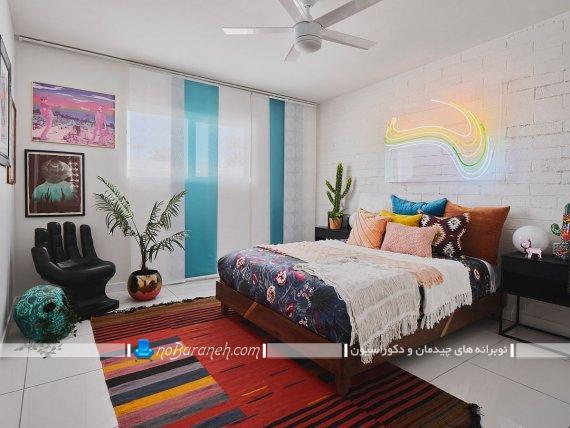 دکوراسیون شیک و فانتزی اتاق خواب جوان و نوجوان. مدل های سنتی دیزاین و چیدمان اتاق نوجوان و جوان. دیوارپوش آجری سفید برای اتاق نوجوان با رنگ سفید.