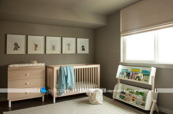 طراحی و تزیین اتاق کودک با رنگهای تیره. مدل های جدید تخت خواب نوزاد چوبی