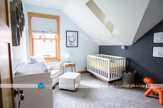 تزیین اتاق نوزاد پسر با رنگ سرمه ای و سفید به سبک شیک مدرن خوشکل زیبا. مدل های جدید دکوراسیون اتاق بچه نوزاد پسر.