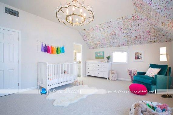 دکوراسیون دخترانه و مدرن اتاق نوزاد با رنگ سفید. مدل های جدید مبلمان اتاق نوزاد.