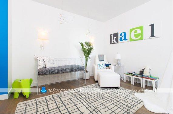 مبلمان اتاق نوزاد با طراحی ساده و شیک مدرن. مدل های جدید دکوراسیون اتاق نوزاد با رنگ های سرد. دکوراسیون پسرانه اتاق نوزاد.
