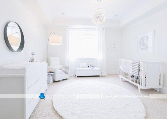 دکوراسیون اتاق نوزاد با رنگ سفید. مدل مبلمان چوبی سفید رنگ اتاق نوزاد دختر و پسر.