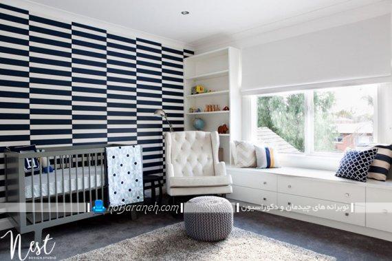 طراحی اتاق کودک با رنگ سیاه و سفید. طراحی دکوراسیون شیک و مدرن اتاق نوزاد
