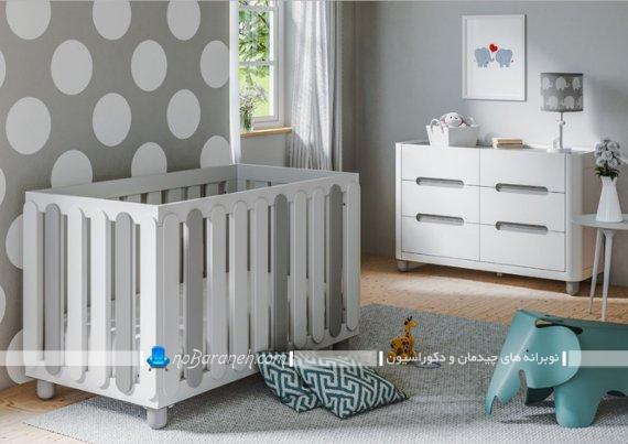 دکوراسیون مدرن و جدید اتاق کودک با رنگ طوسی و سفید. مدل جدید مبل و سرویس خواب نوزاد