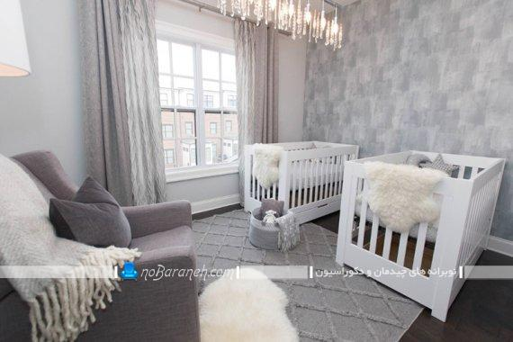 طراحی دکوراسیون مدرن اتاق نوزاد دو قلو به سبک شیک مدرن. مدل تخت نوزاد دو قلو با رنگ سفید. دکوراسیون سلطنتی اتاق کودک نوزاد