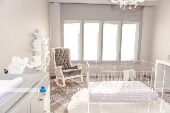 طراحی اتاق کودک نوزاد به شکل مدرن. مدل های جدید و شیک دیزاین و تزیین اتاق نوزاد با رنگ کرم و سفید.