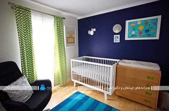 دیزاین شیک و مدرن اتاق نوزاد پسر با رنگ بندی متنوع. مدل های جدید طراحی و تزیین اتاق کودک نوزاد