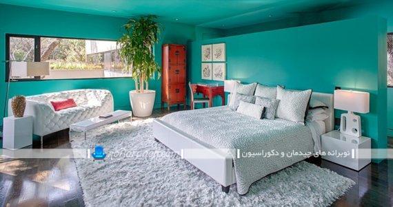 گلدان آپارتمانی زیبا با ساقه بلند برای تزیین اتاق خواب. مدل های جدید دیزاین اتاق خواب با گیاهان آپارتمانی