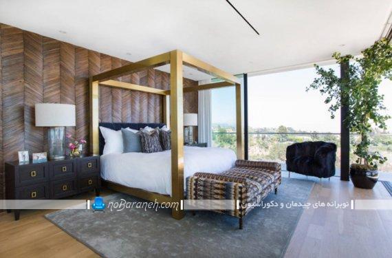 تزیین اتاق خواب با گلدان و گیاهان به شکل شیک مدرن زیبا. مدل های جدید تزیین اتاق خواب با گل و گیاه.