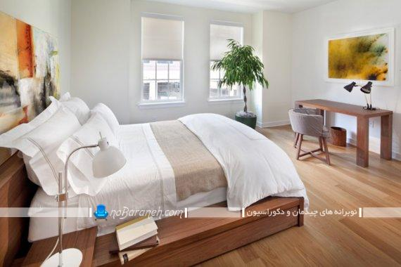 تزیین و دکوراسیون اتاق خواب با گلدان سبز و زیبا. مدل های جدید دیزاین اتاق عروس با گیاهان زیبا. مدل دکوراسیون شیک اتاق خواب