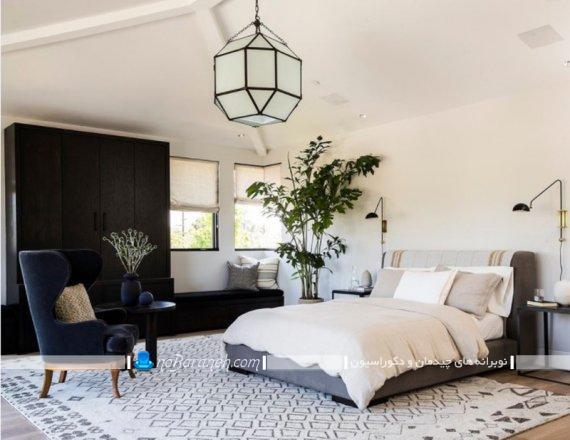 گیاهان آپارتمانی مناسب اتاق خواب. مدل های جدید دیزاین اتاق خواب با گیاهان سبز طبیعی. گلدان بزرگ برای تزیین اتاق خواب دو نفره و تک نفره.