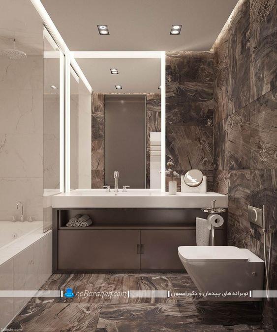 حمام و دستشویی مدرن با کاشی قهوه ای، مدل های جدید کاشی و سرامیک حمام