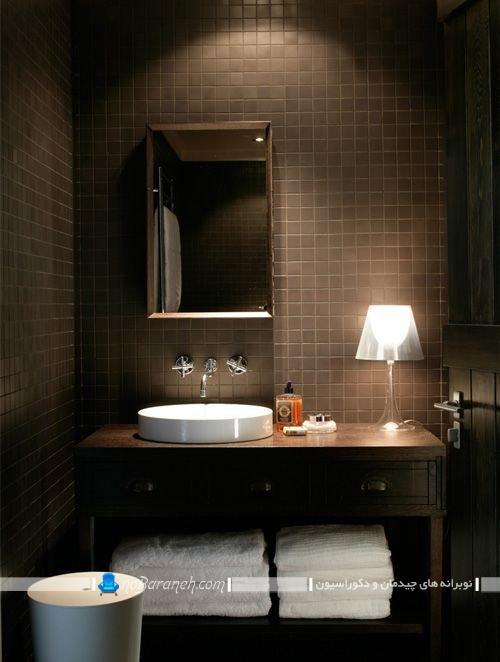 کاشی و سرامیک مدرن و قهوه ای رنگ برای دکوراسیون حمام روشویی دستشویی توالت سرویس بهداشتی شیک مدرن