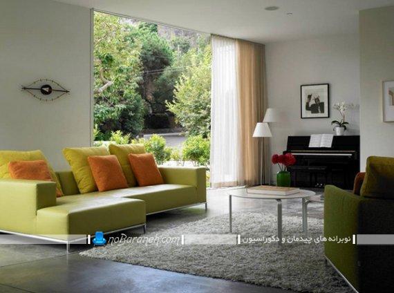 مبل راحتی فانتزی و مدرن با رنگ سبز چرمی. دیزاین و دکوراسیون اتاق پذیرایی با سبز و خاکستری.