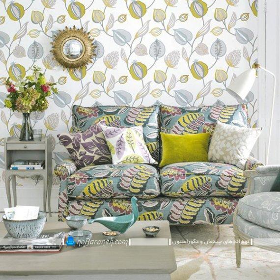 تزیین اتاق پذیرایی با سبز و طوسی شیک مدرن. دیزاین اتاق پذیرایی قدیمی با رنگ های شاد و زیبا.