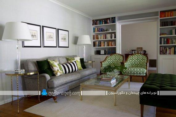 دکوراسیون کلاسیک اتاق پذیرایی با طوسی و سبز. چیدمان و دیزاین شیک اتاق پذیرایی.