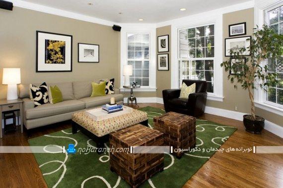 مدل فرش سبز رنگ برای دکوراسیون پذیرایی. دیزاین پذیرایی با کرم و سبز شیک کلاسیک زیبا.