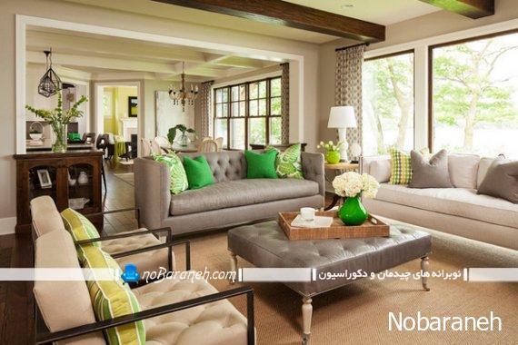 دیزاین و دکوراسیون منزل با سبز و خاکستری شیک کلاسیک سلطنتی. مدل مبل راحتی کلاسیک و شیک.