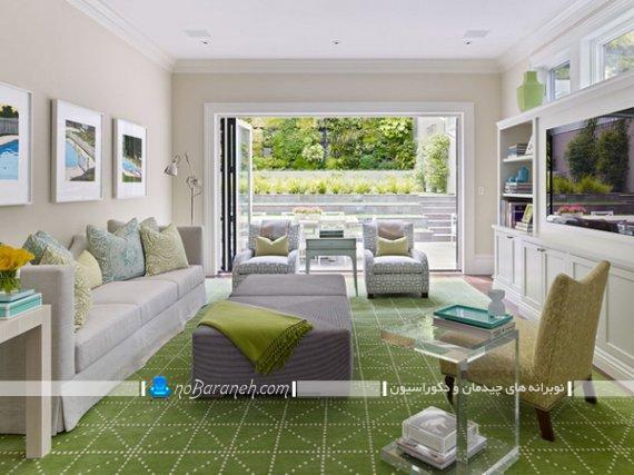 مدل های دیزاین اتاق پذیرایی با سبز و طوسی. مدل فرش و موکت سبز رنگ مدرن. تزیین کلاسیک اتاق پذیرایی