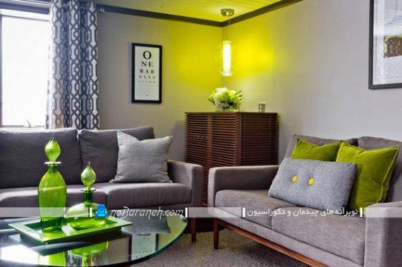 مبلمان راحتی طوسی رنگ برای پذیرایی. مدل های تزیین اتاق پذیرایی با رنگ سبز.