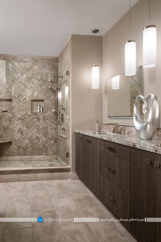 مدل های جدید دکوراسیون حمام و توالت با رنگ قهوه ای نسکافه ای کاکایویی. نورپردازی سرویس بهداشتی روشویی دستشویی