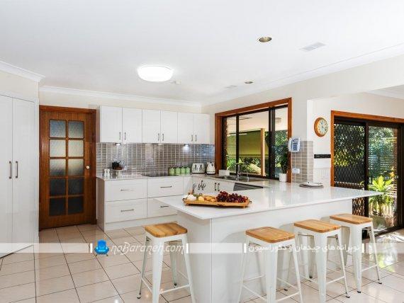 مدل چیدمان و نصب کابینت آشپزخانه اپن. کابینت های سفید رنگ با طراحی جدید و مدرن برای آشپزخانه اپن