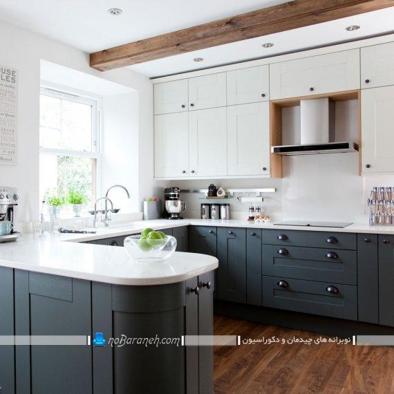 نصب کابینت های ممبران به شکل یو. مدل های شیک کابینت سفید و خاکستری آشپزخانه