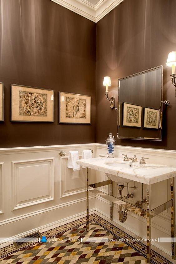 دکوراسیون سلطنتی و لاکچری سرویس بهداشتی. مدل های تزیین دیوار سرویس بهداشتی توالت حمام روشویی