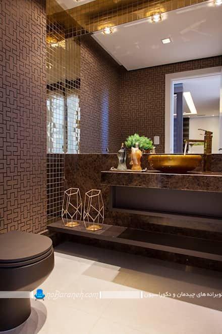 دکوراسیون سلطنتی و شیک روشویی و دستشویی منزل. تزیینات لاکچری و شیک مدرن برای دستشویی و حمام